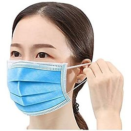 Disposable Mask Box of 50, 3-Ply Protective Anti Dust Breathable (Blue 50pcs)