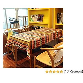 Polyester Tablecloths for Rectangle Tables Line Tablecloth Table Cover Wipe Clean Waterproof Oilproof Mildewproof Skidproof Stain Resistant (55 X 87 Inch, 140 X 220CM, Color Spectrum Lines)