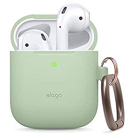 Silicone Case with Keychain Designed for Apple AirPods Case [Front LED Visible] [Pastel Green] (Various Colors)