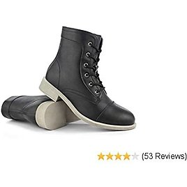 Hawkwell Women's Mid Calf Low Heel Lace Up Shoes Combat Boot