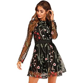 Milumia Women's Floral Embroidered Mesh Long Sleeve Dress