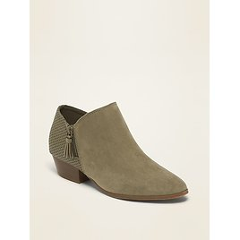 Faux-Suede Perforated Ankle Boots for Women | Old Navy