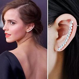 1pc Luxury Ladies Cz Row Crystal Ear Clip Cuff Wrap Clip On Silver Color No-piercing Earring Wedding Jewelry Gifts