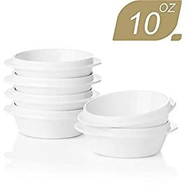 SWEEJAR Porcelain Ramekins for Creme Brulee 10 Ounce,Integrated Double Handle Souffle Dishes for Baking,Ice Cream,Chicken Pot Pies,Oven Safe-Set of 6(White)