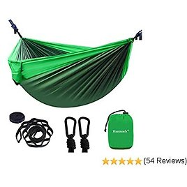 Double Hammocks,Camping Hammock with 2 Tree Straps and 2 Carabiners, Lightweight Nylon Parachute Portable Outdoor Hammock