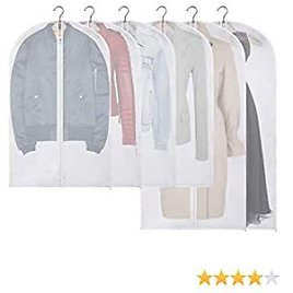 """KingSo 43""""/50"""" Hanging Garment Bags Clear Suit Bags (Set of 6) with Full Zipper for Dress Coats Jackets Sweater Closet Storage and Travel"""