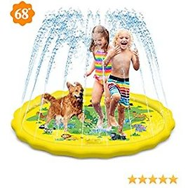 """Chamvis Splash Pad,Inflatable Sprinkle and Splash Play Water Mat, 68"""" Outdoor Backyard Sprinklers Toys for Boys Girls, Children Fountain Baby Water Playmat"""