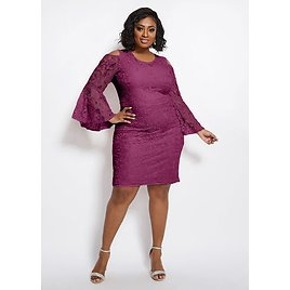 Plus Size Lace Cold Shoulder Bell Sleeve Sheath Party Knee Dresses