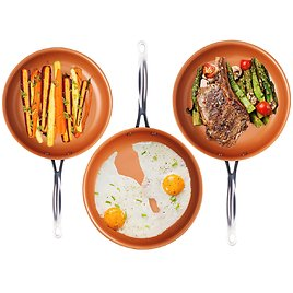 """Gotham Steel 3 Piece Fry Pan Set - 9.5"""", 11"""" & 12.5"""" with Ultra Nonstick Ceramic Copper Coating"""