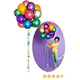 """Stratton.I® Birthday Party Balloons Decorations 12"""" Inch Metallic Balloon Chrome LED, Ballons Colorful Supplies Latex Colorful Balloon, Kids, Baby Shower Helium, Wedding, Parties, Arch Decoration"""