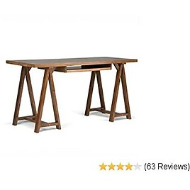 Simpli Home Sawhorse SOLID WOOD Modern Industrial 60 Inch Wide Home Office Desk, Writing Table, Workstation, Study Table Furniture in Medium Saddle Brown