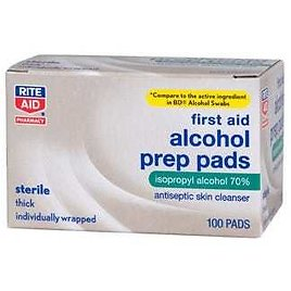 Rite Aid First Aid Alcohol Prep Pads, 100 Ct.