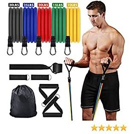 Resistance Bands Set Exercise Bands - 5 Piece Stackable Workout Bands with Door Anchor,Handles,Legs Ankle Straps for Exercise Resistance Training, Physical Therapy, Home Workouts,Up to 100 Lbs