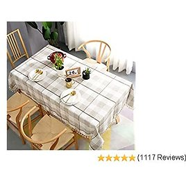TEWENE Tablecloth, Square Table Cloth Tassel Cotton Linen Wrinkle Free Anti-Fading Checkered Tablecloths Dust-Proof Table Cover for Kitchen Dining Party (Square,55''x55'',4 Seats, White&Light Brown)