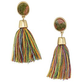 Firefly Imports - Hanging Tassel with Stone Post Earrings, 2-1/4-Inch, Multicolor