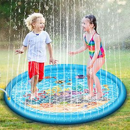 67'' Splash Water Play Mat Sprinkle Splash Play Mat Toy for Outdoor Swimming Beach Lawn Inflatable Sprinkler Pad For Kids