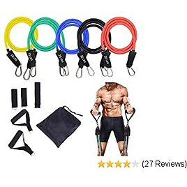 STARISE Resistance Bands Set - 5-Piece Exercise Bands - Portable Home Gym Accessories - Stackable Up to 150 Lbs. - Perfect Muscle Builder for Arms, Back, Leg, Chest, Belly, Glutes