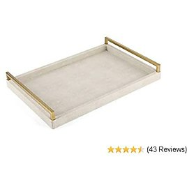 WV Faux Ivory Shagreen Decorative Tray PU Leather with Brushed Ti-Gold Stainless Steel Handle for Coffee Table, Ottoman, Console Table (Ivory)
