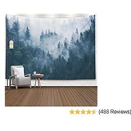 EMMTEEY Forest Wall Hanging Tapestry,Mens Tapestry for Bedroom, Room Tapestry Tapestries Printed 80X60 Inches for Misty Foggy Mountain Landscape with Fir in Hipster Vintage Retro Style