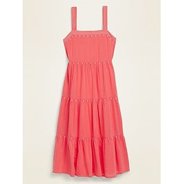 Tiered Embroidered Midi Swing Dress for Women | Old Navy