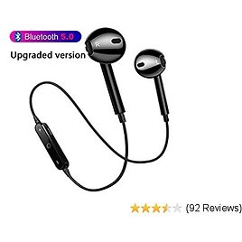 Bluetooth Sport Headphones, Wireless Earbuds with HD Mic Bluetooth 5.0 and Secure Fit Noise Isolating Headsets Sweatproof in Ear Earphones for Running Gym Workout-Black (Upgrade)