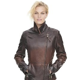 Vintage Distressed Asymmetrical Leather Jacket with Quilted Side Detail