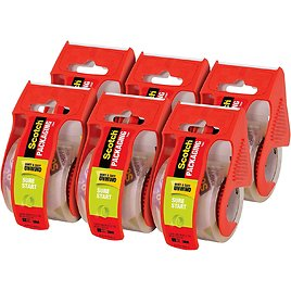 Scotch Sure Start Shipping Packaging Tape, 6 Rolls with Dispenser