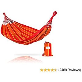 Hammock Sky Brazilian Double Hammock - Two Person Bed for Backyard, Porch, Outdoor and Indoor Use - Soft Woven Cotton Fabric (Orange & Yellow Stripes)