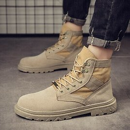 Mens Lace Up High Top Military Ankle Boots Combat Knight Desert Casual Shoes NEW