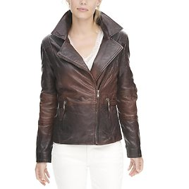 Vintage Distressed Asymmetrical Leather Jacket with Quilted Side Detail - Wilsons Leather
