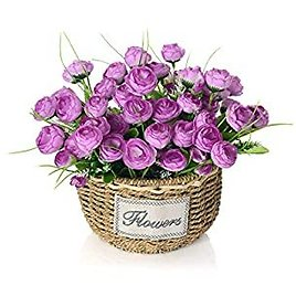 Artificial Flowers Arrangement, Fake Rosebud Flowers in Handmade Baskets for Home and Office Centerpieces Decor (Purple Rosebud)