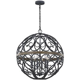 59% Off Feiss Avila 6-Light Weathered Zinc and Weathered Oak Chandelier with Ironwork Shade F3219/6WZC/WOW