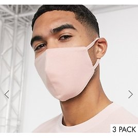 ASOS DESIGN 3 Pack Face Covering in Dusky Pink Gray and Blue | ASOS
