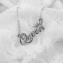 Cy_ Silver Letter Queen Pendant Shiny Rhinestone Clavicle Chain Necklace Cheap