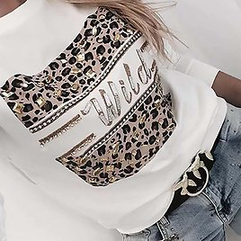 US $5.24 30% OFF|Letter Print Women Blouses And Shirt Spring Autumn Long Sleeve Fashion Leopard Top Blouses For Lady 2020 Casual Female Tee Shirt|Blouses & Shirts| - AliExpress
