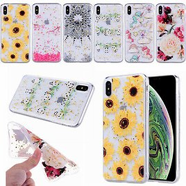 Glitter Gold Foil Flower For IPhone 11 Pro XS MAX XR X 7 8 Plus Clear Soft Case