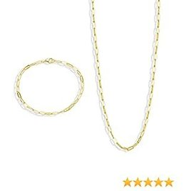 FANCIME Paperclip Chain Necklace and Bracelet Jewelry Set Dainty Link 14K Yellow/Rose/White Gold Plated Gift for Women Girls, Adjustable Necklace 18 Inch/Bracelet 8 Inch.