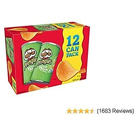Pringles Potato Crisps Chips, Sour Cream and Onion Flavored, Single Serve, Grab and Go, (12 Count of 2.5 Oz Cans) 30 Oz