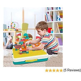 Activity Table 5-in-1 Game Table for Kids Learning Toys for Boys and Girls with Blocks, Puzzles, Flying Chess and Drawing Board