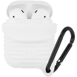 Case-Mate - Tough Airpods Case - Drop Protected - Waterproof Up to 3 Feet - Compatible with Apple Airpods Series 1 & 2 - White W/Black Carabiner, One Size