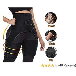 CoutureBridal Waist Trainer, 3-in-1 Waist and Thigh Trimmer Butt Lifter Shapewear and Hips Belt Shaping Neoprene Thigh Shaper, S