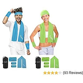 Cooling Towel Headbands Neck Gaiters Wristbands Set for Man and Women, Microfiber Ice Towel for All Activities. Keep Cool Face Scarf for Workout, Gym, Yoga,Travel,Golf with UV Resistence Function
