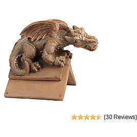 Design Toscano NG30667 Apex, The Winged Dragon Sculptural Roof Cresting,Terra Cotta