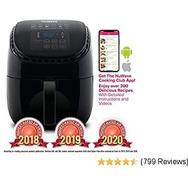 BRIO 3-Quart Digital Air Fryer Cooking Package with One-touch Digital Controls, 6 Easy Presets, Precise Temperature Control,