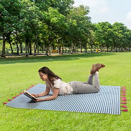 67% OFF Striped Throw Blanket 100% Cotton With Fringe Beach Picnic Lawn Couch Travel