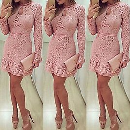 Fashion Women Summer Lace Long Sleeve Party Evening Cocktail Short Mini Dress DS