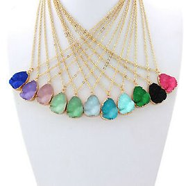 Natural Rock Crystal Pendant Necklace Gold Plated Chain Healing Jewelry