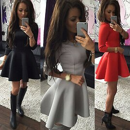 Sexy Women Long/Short Sleeve Party Evening Cocktail Club Short Mini Casual Dress