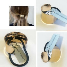 Hair Ponytail Ring Cover GOLD Metal Cuff Wrap Holder Elastic Style Band Pony DIY