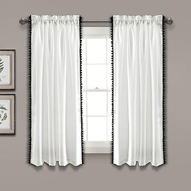 """Lush Decor Black Pom Curtain 
